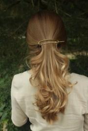 large brass hair barrette rustic