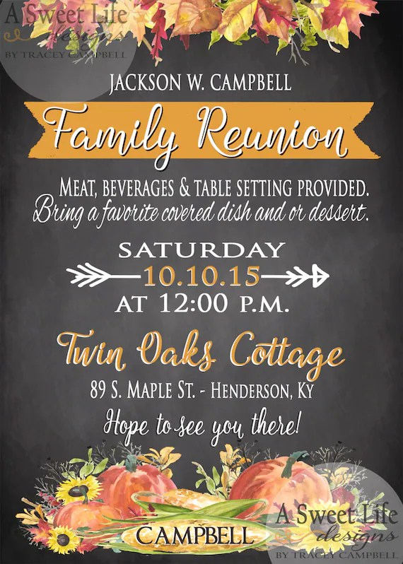 Fall Family Reunion Invitation Thanksgiving by
