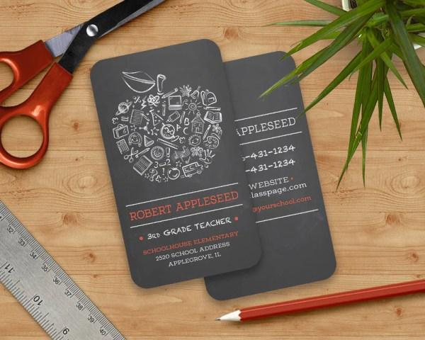 Teachers Apple Business Card Chalkboard
