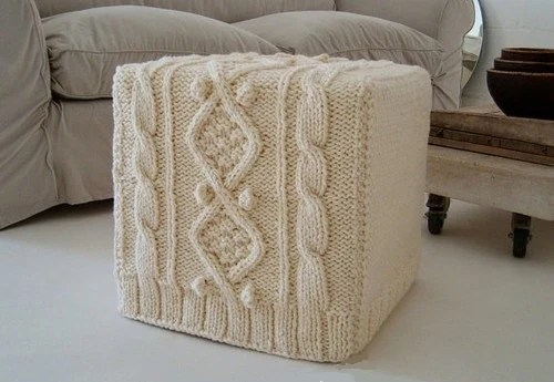 Items similar to TRENDY Knit Ottoman Cover Crochet