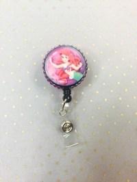 littler mermaid badge reel disney princess badge by JustBlingN