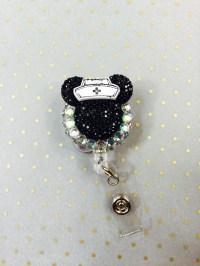 black mickey mouse nurse badge reel disney badge by JustBlingN