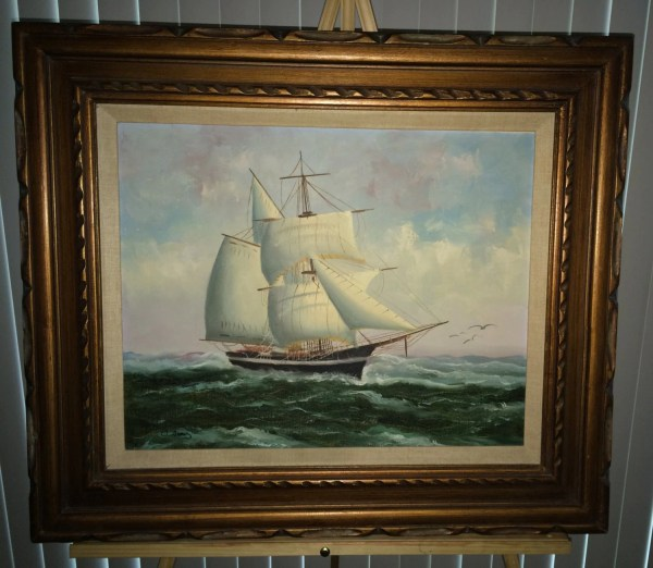 Clipper Ship Oil Canvas Original Painting Signed