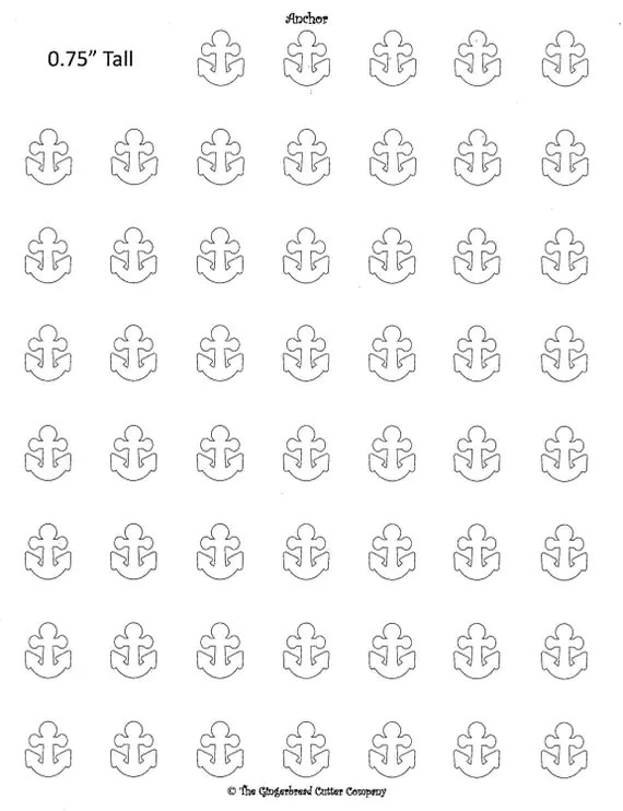 Anchor Royal Icing Transfer Template