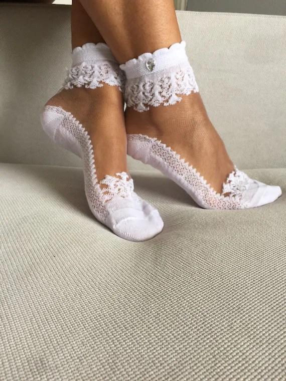 Womens Socks Lace Ankle Socks Wedding Socks Gift For by Muggyshop