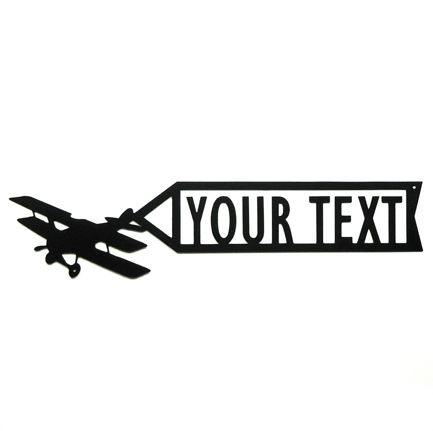Personalized Airplane Banner Metal Art Sign Free Usa