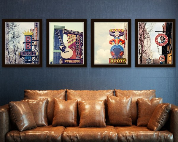 Nashville Signs Set Of 4 Prints Country Music