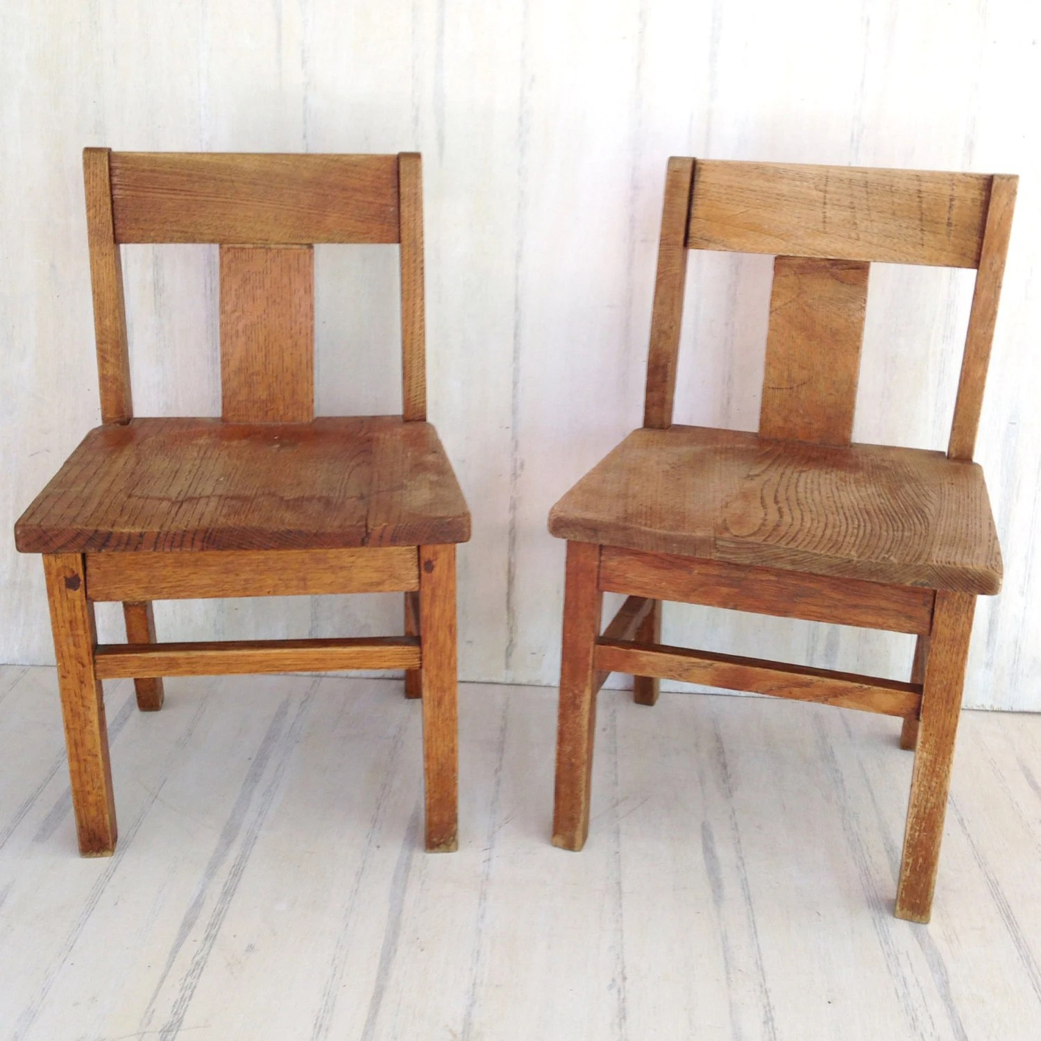 Wooden School Chairs Set Of Two Vintage Oak Wooden Childrens Chairs Old