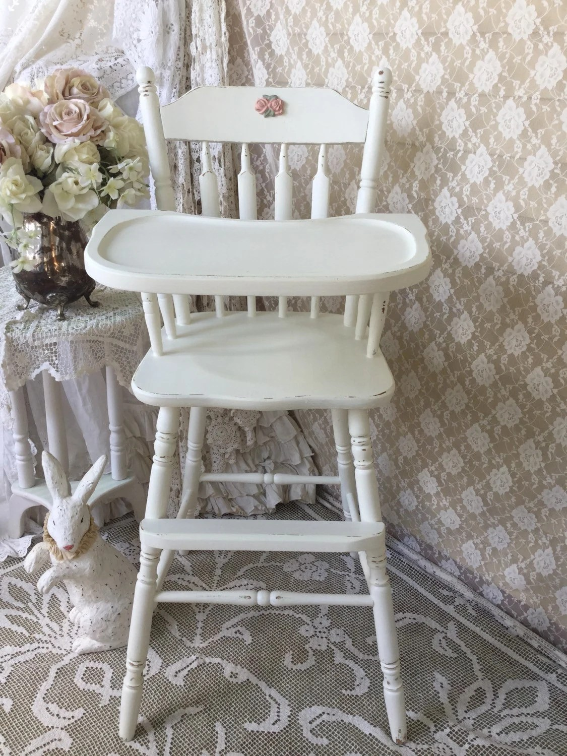 wooden high chairs for babies chair gym exercise routine reserved shabby white vintage baby