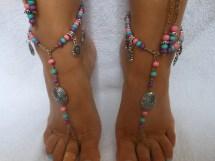 Silver Beach Wedding Barefoot Sandals