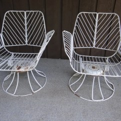 Retro Metal Patio Chairs Club Chair And Ottoman Homecrest Swivel Vintage Wrought Iron Mid