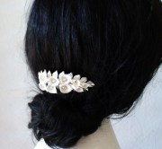 bridal flower hair comb white