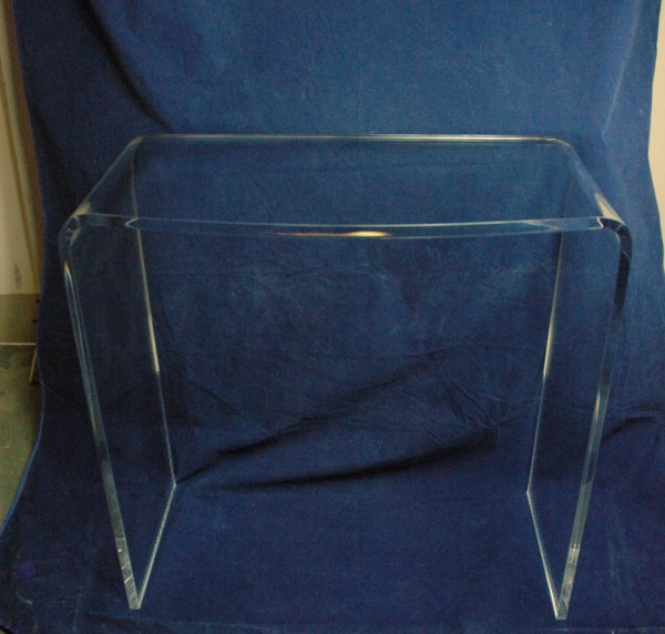 Clear Acrylic Lucite Vanity Table Desk With Rounded Front