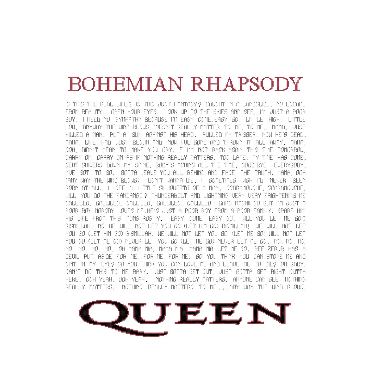 Bohemian Rhapsody Lyrics Pattern Queen Song Cross Stitch