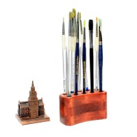 Artist Paint Brush Organizer Wooden Pencil Stand Brush