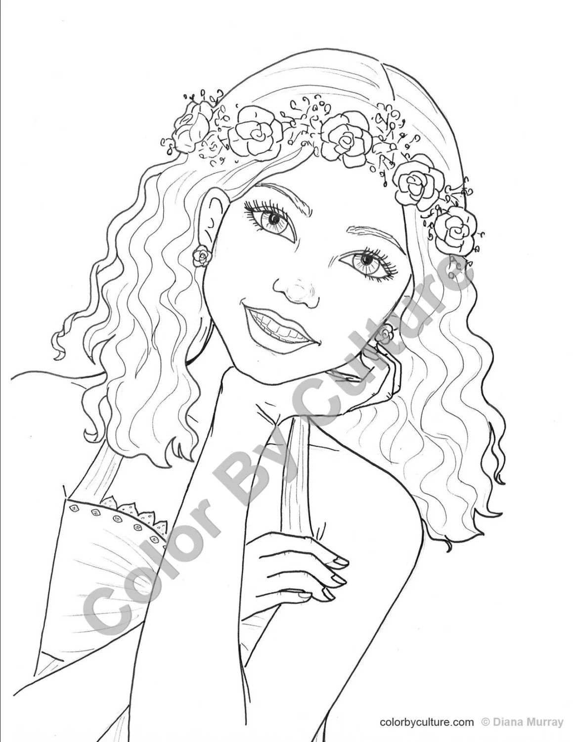 Fashion Coloring Page Girl With Flower Wreath Coloring Page