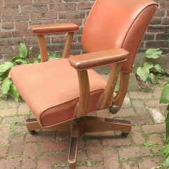 Wooden Leather Desk Chair Green Dining Room Chairs Uk Antique On Wheels Furniture