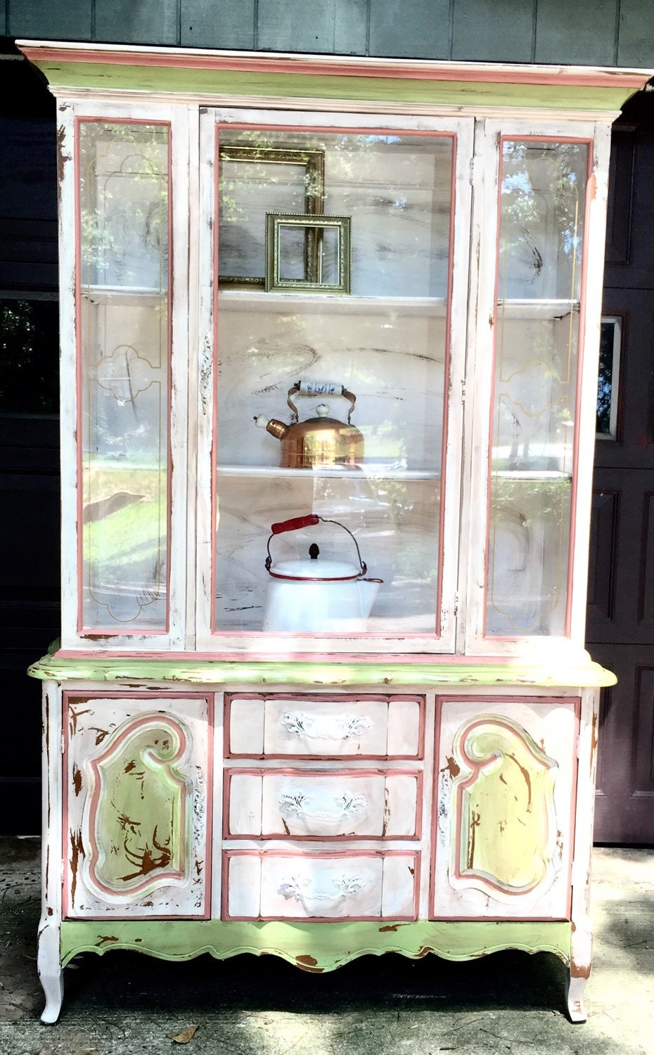 French Country China Cabinets And Painted Hutch