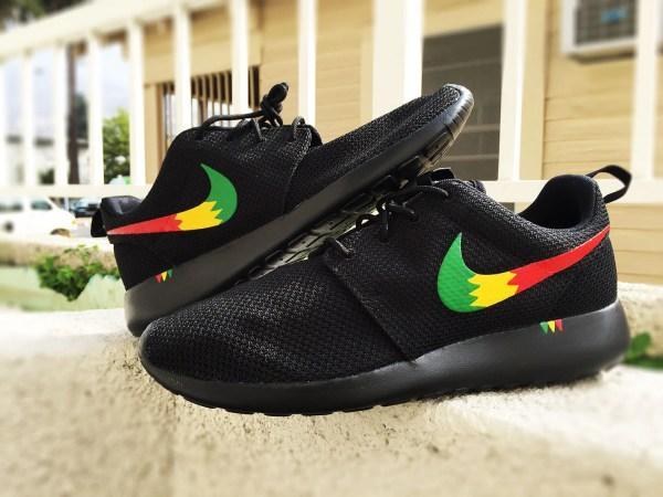Custom Nike Roshe Run Sneakers Rasta Design Red Yellow