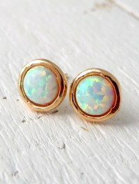 Opal earrings opal stud earrings White Opal stud