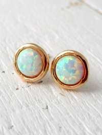 Opal earrings opal stud earrings White Opal stud
