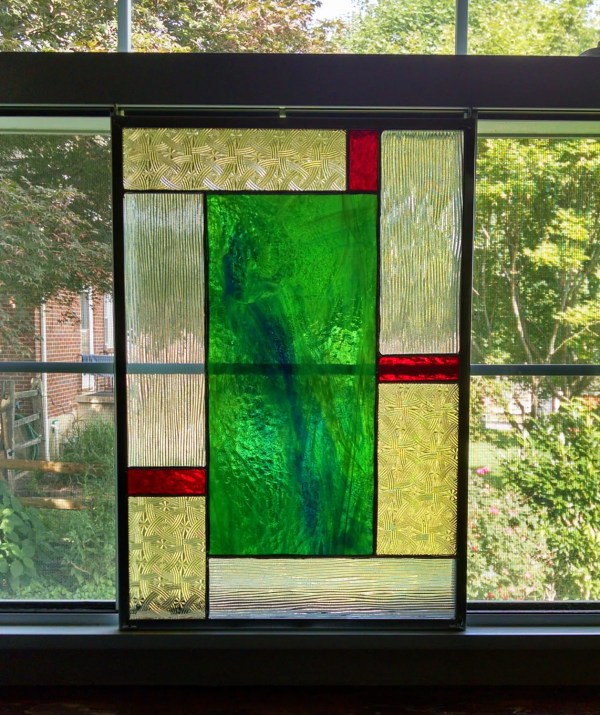 Geometric Stained Glass Window Panel Privacy Screen