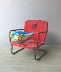 Items similar to Vintage Red Metal Doll Chair - Outdoor ...