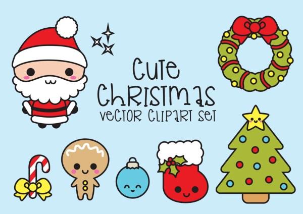 premium vector clipart kawaii christmas