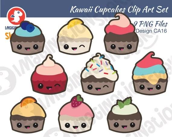 little kawaii cupcakes clip art