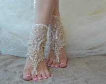 Champagne Free Ship Barefoot Sandals Beach Wedding Shoes