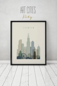 Chicago print Poster Wall art Illinois Chicago skyline