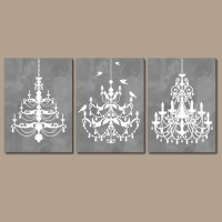 CHANDELIER Wall Art Canvas or Prints Gray Watercolor Wall