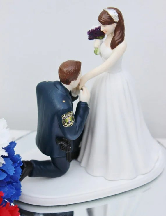 Police Officer COP Sheriff wedding cake topper KNEEL