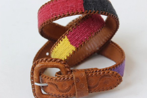 Guatemalan Leather Belt With Cotton Tapestry Hippie Tooled