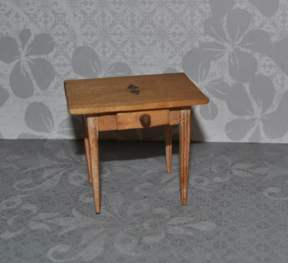 Antique German Wood Dollhouse Square Table w Drawer Empire Style ...