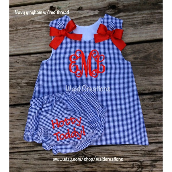 Ole Hotty Toddy Inspired Gingham Line Monogram Baby