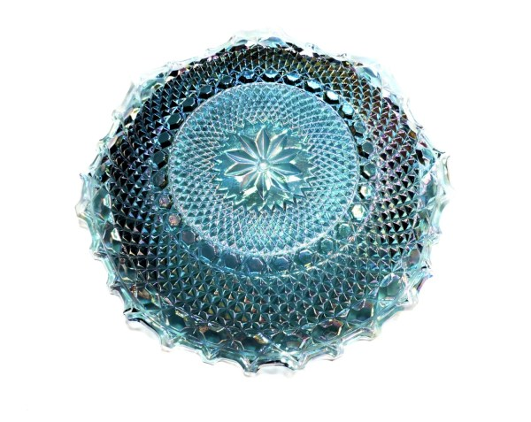 Blue Carnival Glass Plate Vintage Iridescent Diamond