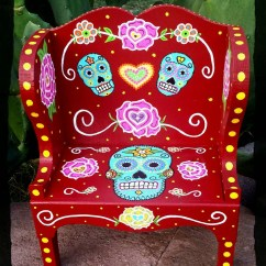 Wooden Skull Chair Home Depot Chairs Plastic Sugar Day Of The Dead Hand Painted Mini