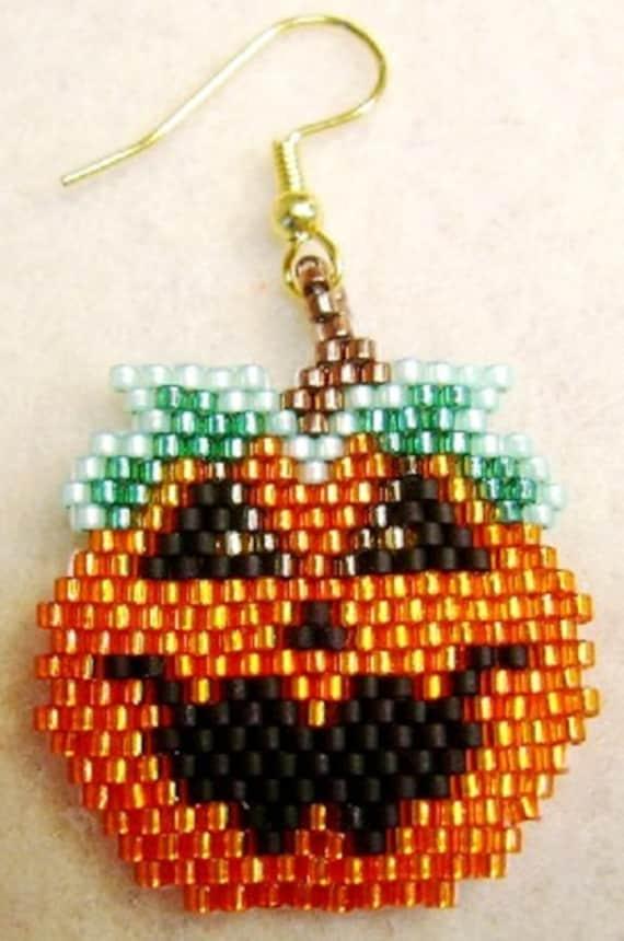 Hand Beaded Jack O Lantern Pumpkin Earrings