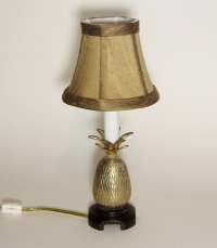 BRASS PINEAPPLE LAMP Small Accent Lamp Silk Shade & Candle