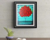 Red Poof Tree Signed Art Print of Signature Original By Rafi Perez