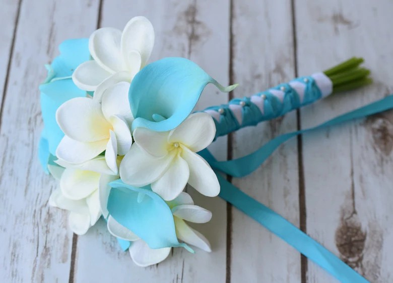 Wedding Turquoise Teal Natural Touch Callas And Plumerias Silk