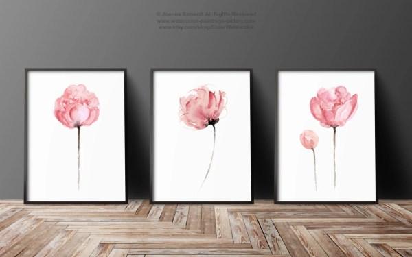 Peony Set Of 3 Abstract Flower Peonies Art Print Minimalist