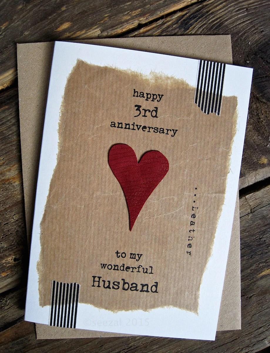 3rd Wedding Anniversary Card Leather Traditional Gift Handmade