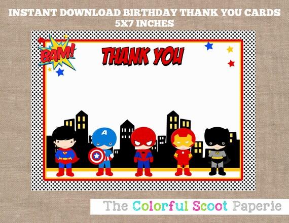 Superhero Thank You Card Superheroes Thank You Cards Marvel