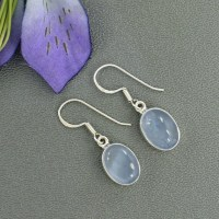Dusty Blue Earrings Periwinkle Chalcedony by Silvergem2014 ...
