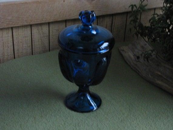 Bluenique Viking Glass Pedestal Jar Cobalt Blue Candy Dish