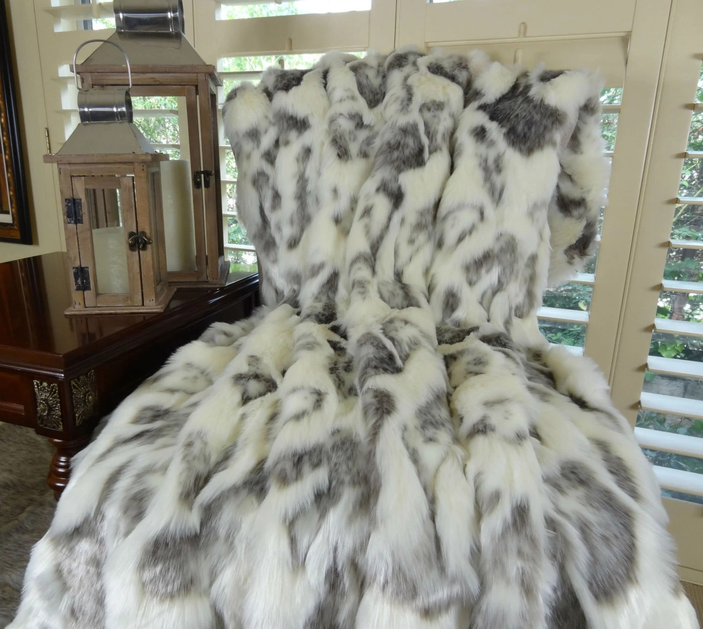 Ivory Faux Fur Throw Blanket  Bedspread Rabbit Faux Fur
