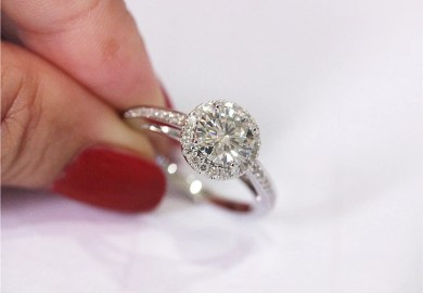 1ct Diamonds Ring Engagement Ring 14k White Gold Wedding Ring Full