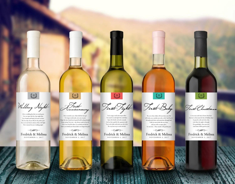 Wedding Milestones Wine Label Custom Wine Label